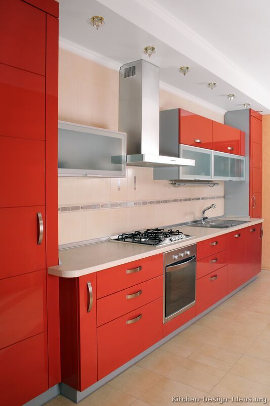 find this pin and more on red kitchens pictures of kitchens modern red kitchen cabinets - Modern Kitchen Cabinets Design Ideas