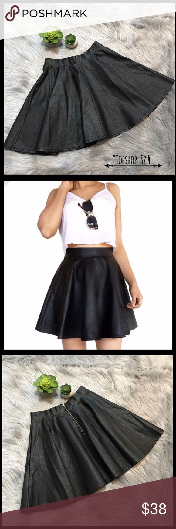 """Topshop faux leather skater skirt As new size 4 faux leather skater skirt measurement 13""""flat lay waist and 17""""length Skirts Mini"""