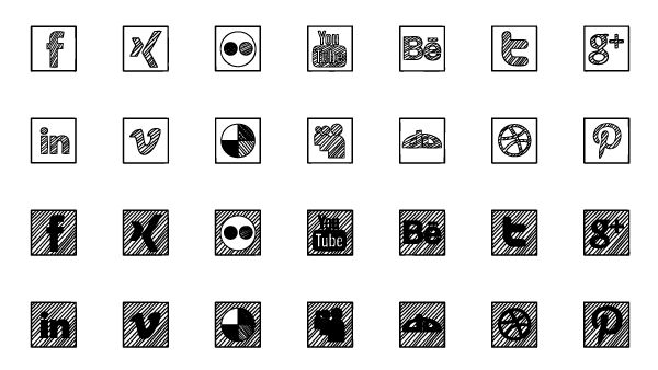 Sketched Social Icons Free PSD