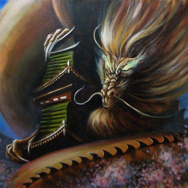 Картина масляными красками 40х50 «Японский дракон»