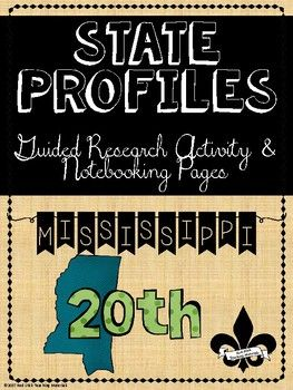 Are you looking for a way to guide your students research of the states?  State Profile Notebooking Pages are a guided research platform to assists students in looking for key information about each state in the USA.  In addition to the 3 page profile sheet, there is an acrostic poem for the state and teachers have the option of assigning an extension of having the students write a State Profile Informational Paper with their research.