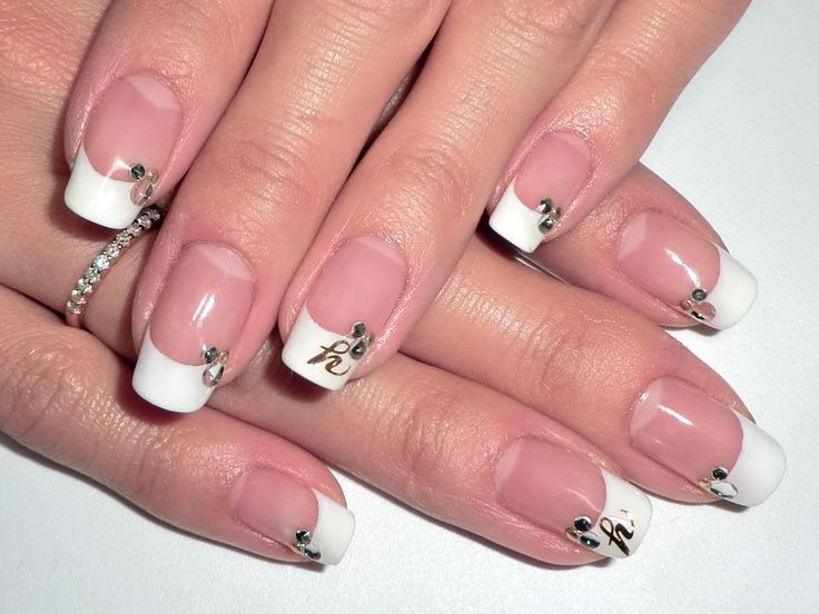 French tip nails with rhinestone and monogram accents from Yucca Nail blog