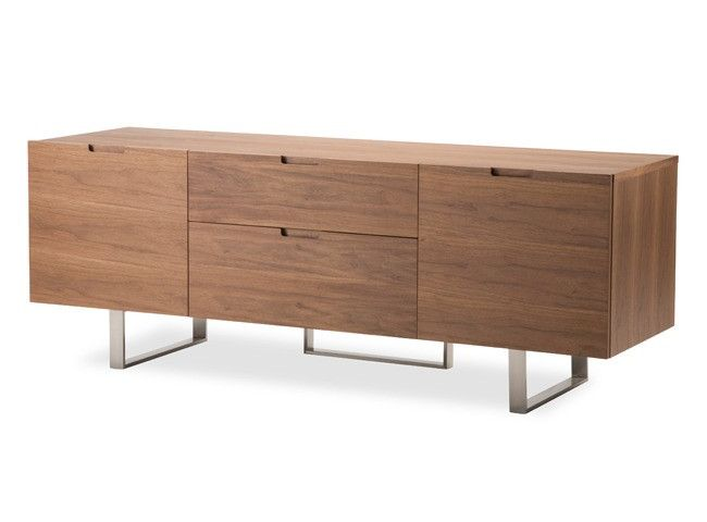 The eldridge entertainment unit, with its ultra modern clean lines, spans just under 5' long - a perfect fit for any space. with two center drawers that measure 21l x 17d, and two side cabinets (16.5l