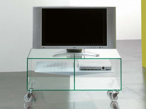 E-Box glass tv stand with wheels