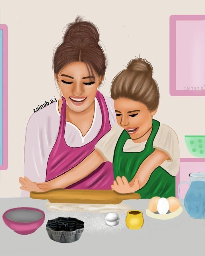 كلما أردت أن أكتب عن أمي أدركت بأنني امي وبالنسبه ليد البنت شوفوا الصوره بالستوري هي Mother Daughter Art Mother Daughter Pictures Baby Girl Art