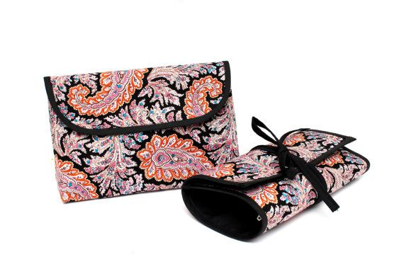 Trendy Tribal Floral Brush Roll With Zippered Pocket.