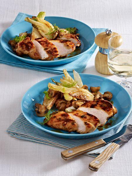 Low Carb Abendessen: Honig-Hähnchen mit Fenchel und Champignons