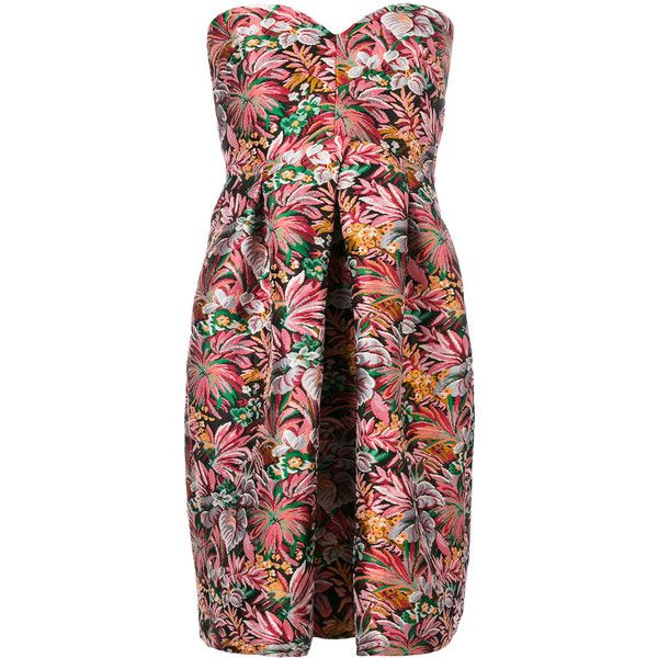 MSGM floral bustier dress ($629) ❤ liked on Polyvore featuring dresses, floral dresses, flower print dress, floral print dress, floral bustier and floral day dress