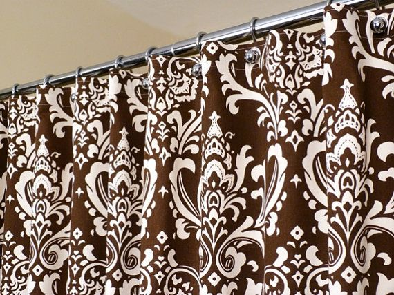 "Brown Shower Curtain in Off-White and Brown Damask Pattern sized 72"" x 72"" (curtain hooks sold separately)"