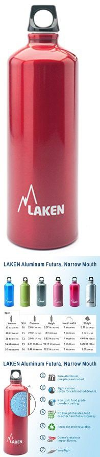 Laken Futura Water Bottle Narrow Mouth Screw Cap with Loop - 34 oz, Red