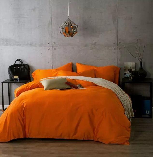 Luxury Egyptian Cotton Bedding sets Orange bed sheets linen bedspreads duvet cover King size queen double full bedsheet linen 60 #Affiliate
