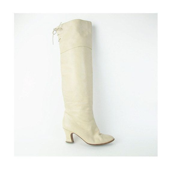 jaren 1980 over de knie laarzen OTK dij crème hoge laarzen