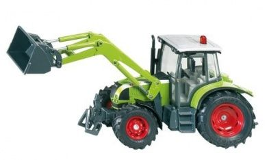 Product Description:Claas Ares tractor with mobile front loader, functioning dumper mechanism and alternating system at front loader. The loading arm is fitted with a tipper. The engine bonnet is easily opened, despite the front loader. The model is fitted with all the typical SIKU details such as rotating axle, axle steering and roof steering as well as removable cabin.