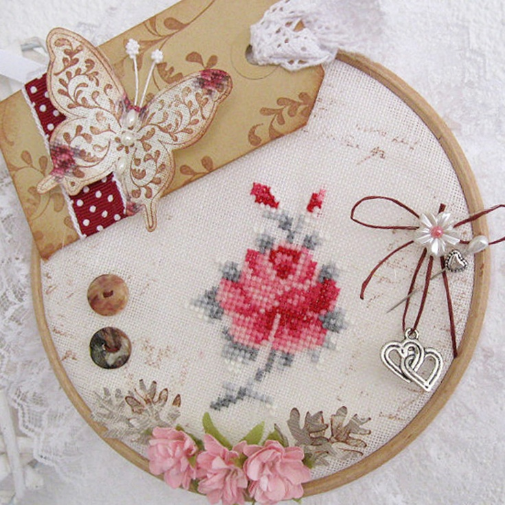 Cross stitch focal point with beautiful finishing details!