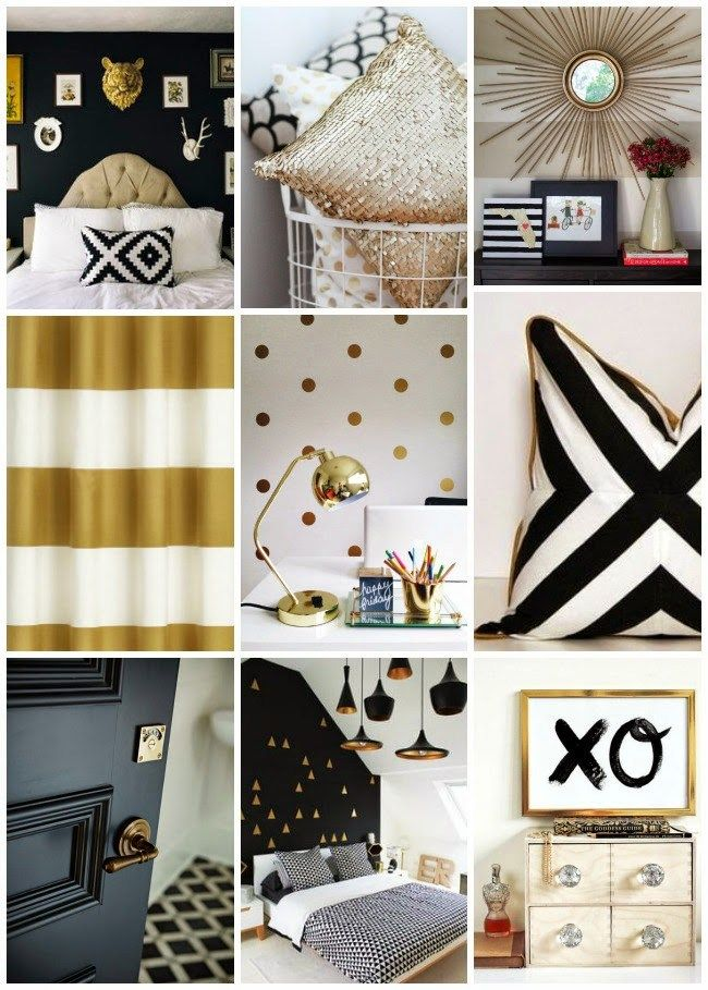 I can't get enough of the black, white and gold color pairing. Not only do these colors scream modern chic but they totally work as a unisex palette for the opposite sex (it's so much easier to push these colors than it is to push lets say pink). We created this color board to help you picture it. Links: Yvonne Rock Photo via Style Me Pretty   Urban Walls via Brit+ Co  Lincoln Barbour via Yellow Trace Émilie Rousseaux via Design Sponge 