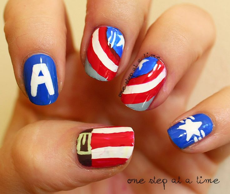 Captain America / Steve Rogers | One Step At A Time #nails #nailart #freehand #avengers #avengersassemble