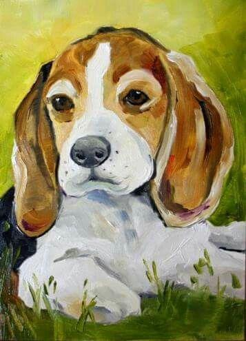 Beagle pup painting