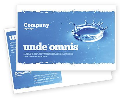 Blue Water Splash Postcard Template in Microsoft Word, Adobe InDesign, 05444, Download Now | PoweredTemplate.com