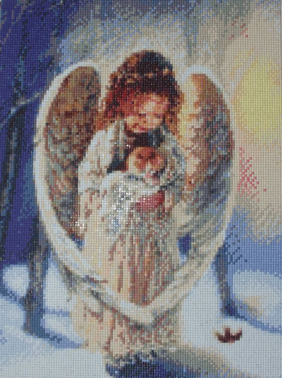 Angel with animal - Diamond Painting Home Decoration Finished Completed Wall Decor Embroidery Cross Stitch Rhinestone Needlework Mosaic