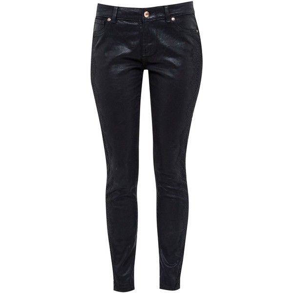 Ted Baker Renna Lace detail skinny jeans ($135) ❤ liked on Polyvore featuring jeans, black, women, skinny fit jeans, 5 pocket jeans, ted baker jeans, button-fly jeans and denim skinny jeans