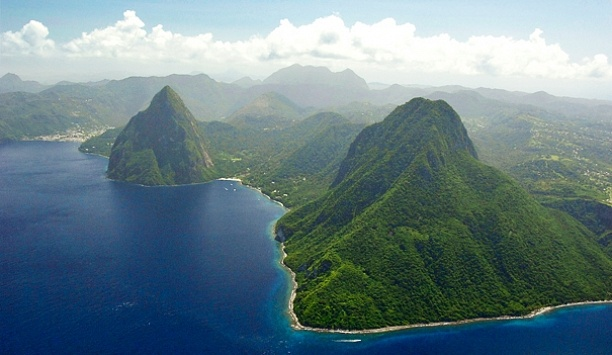 How breathtaking! The Landings  Castries, St Lucia.        The Pitons are the most recognizable landmark on St. Lucia, on show from most of the island.