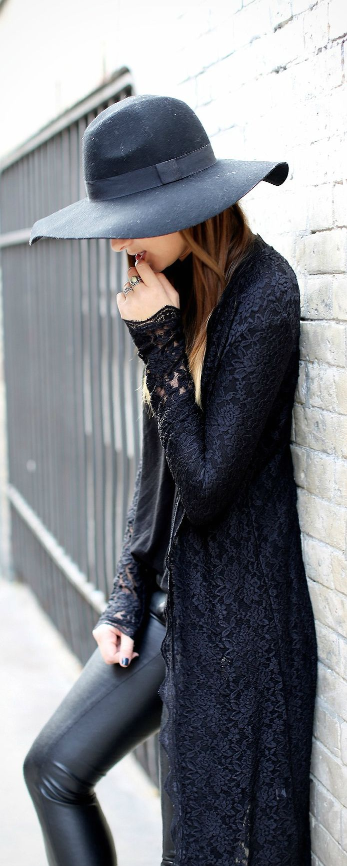 Street style fashion / karen cox. All Black :: leather and lace perfect combination