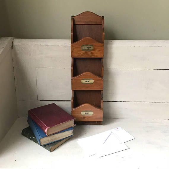 Vintage Wood Mail Holder Mid Century Modern Letter Sorter Hanging Mail Organizer Vintage Wood Mail Holder