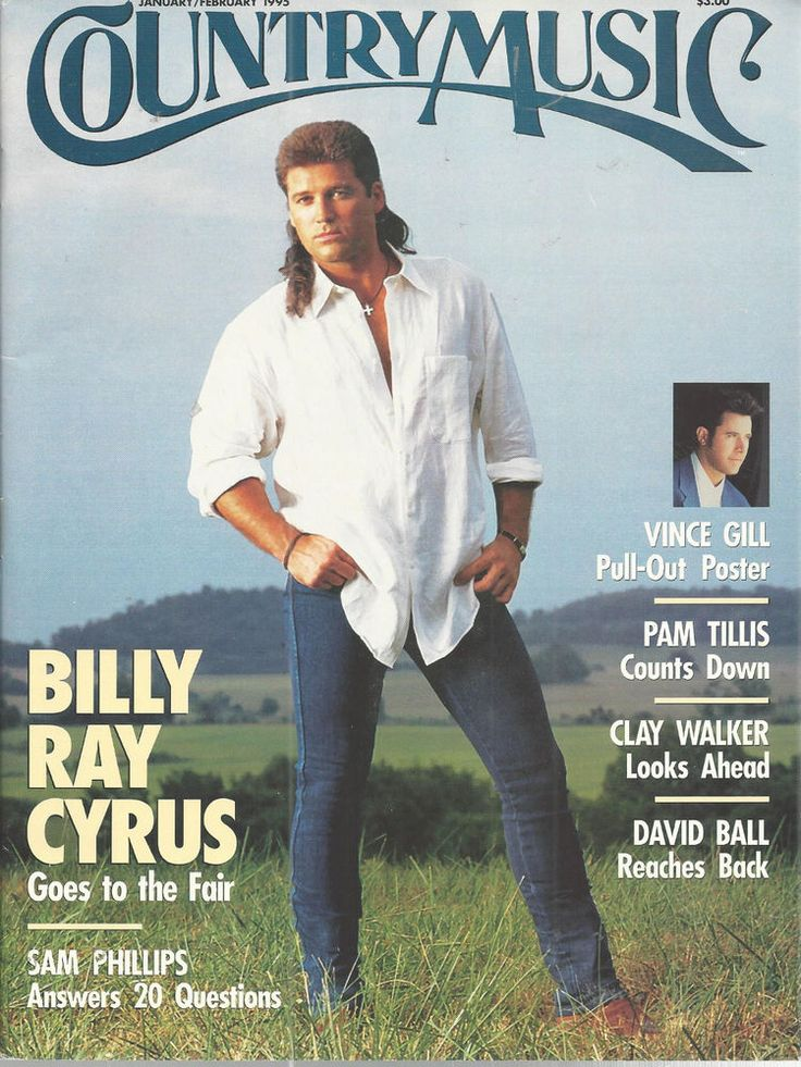 Billy Ray Cyrus Country Music January/February 1995 Vince Gill Poster | eBay