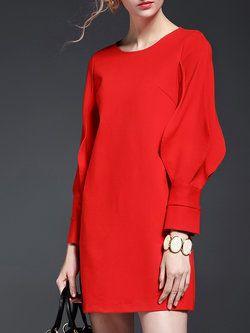 Red Plain Balloon Sleeve Mini Dress
