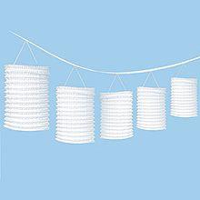 Girlande mit Lampions weiß, 365 cm