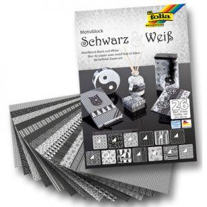 Okul ve Okul Öncesi :: Kağıt Ürünleri :: Desenli-Dekoratif Kağıtlar :: Folia Motivblock Dekoratif Kartonlar 24x34 cm. 26 Tabaka 270 gr. Siyah Beyaz