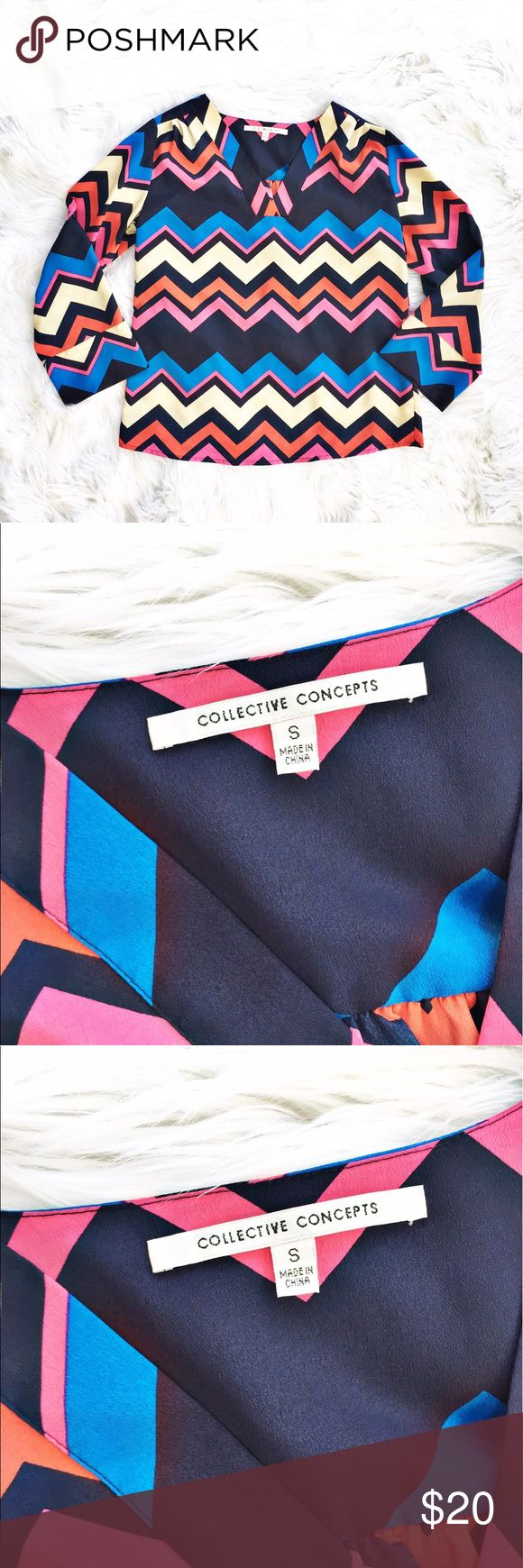 "Stitch Fix Collective Concepts chevron blouse Vibrant chevron pattern popover blouse, size small from Collective Concepts (Stitch Fix). Sleeves can be worn long or rolled and buttoned back. Excellent condition. Flat measurements are bust 20"", length 25.5"". Collective Concepts Tops Blouses"