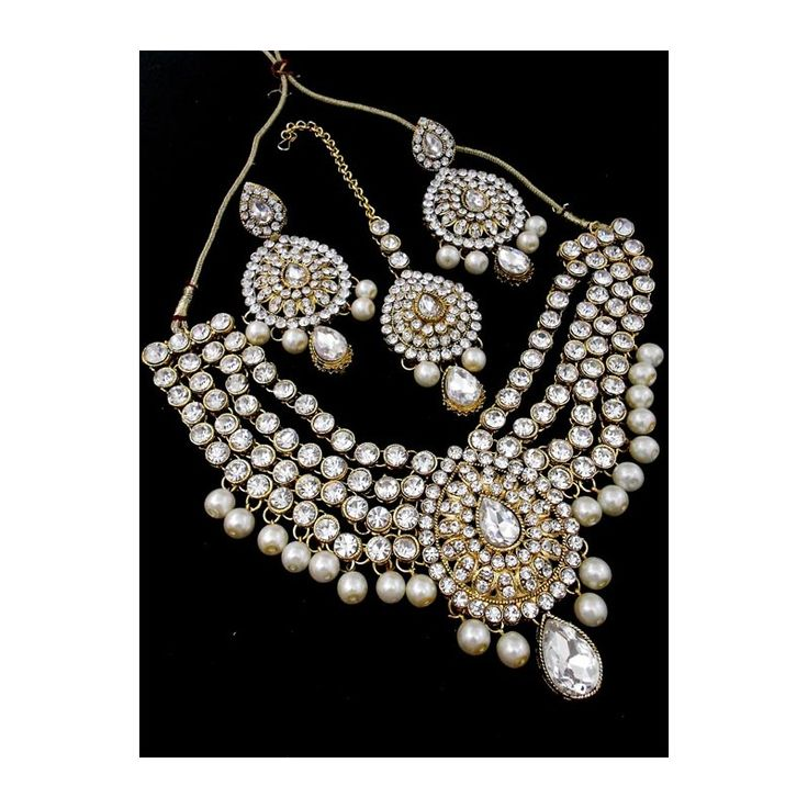 Traditional Bridal Jewelry Set made up of Pearls and CZ stones available at http://skyfashionshop.com/indian-bridal-jewelry-set/110-stone-studded-pearls-jewelry-set.html  #indianfashionjewelry #fashionjewelryset #indianbridaljewelry
