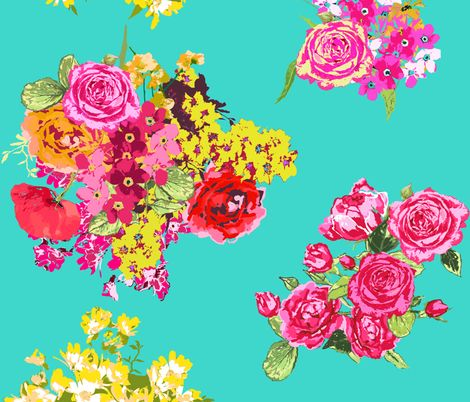 Bathroom? aqua turquoise flowers fabric by katarina on Spoonflower - custom fabric