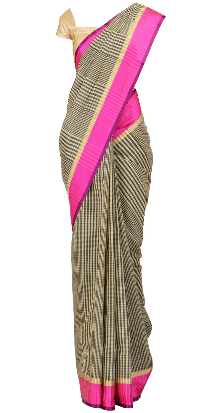 Classic colors!    Black and beige checkered sari with pink border