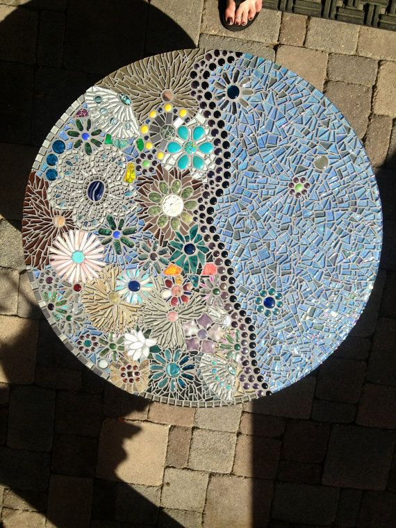 """Ocean Meadow, 32"""" Round Mosaic Side Table, One of a Kind Functional Art"""