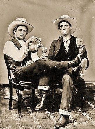 Vintage best friends cowboys