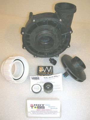 Discontinued in 2009, but separate parts are available. Complete pump replacement will be XP2e, nearly identical, but more efficient and durable. 2 inch intake (center) and discharge. Available as complete wet end. This includes front and back halves of pump volute,O-ring, stainless bolts, seal, impeller, wear ring,and drain plug. Very similar in design to Waterway brand 'executive' pump, note less ribs on face-plate on XP2.