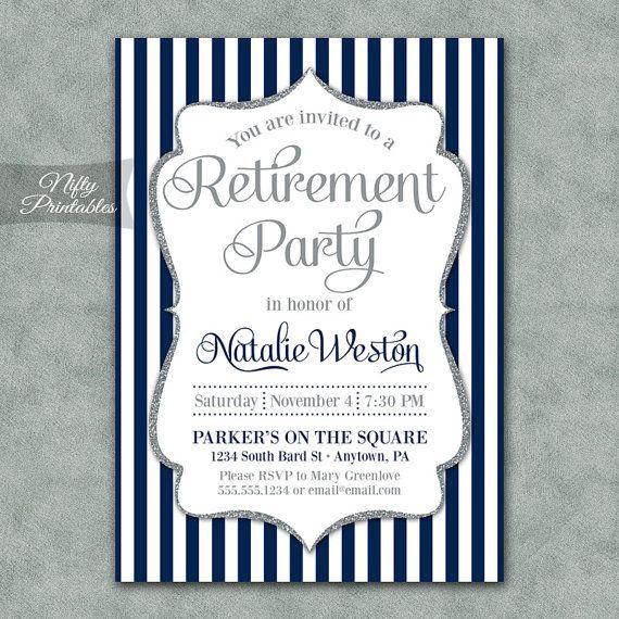 Retirement Invitations - Printable Silver & Navy Blue Retirement Party Invites - Elegant Navy Retirement Invitation - NSG