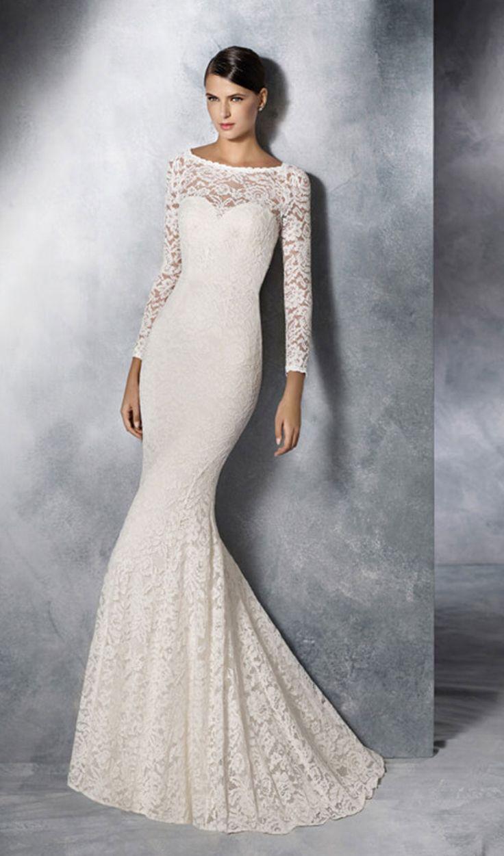 Try This Pronovias White One Sheath Wedding Dress With