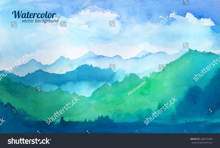 mountain watercolor vector