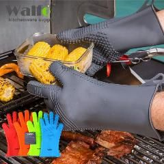 [ 18% OFF ] WALFOS 1 pieces Heat Resistant extra Long Oven Mitts-Barbecue BBQ glove-Silicone cooking oven glove bbq tools grill accessories