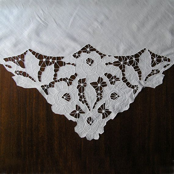 Vintage Cutwork Embroidery 1970s Tablecloth Handmade Vintage Housewares Home Decor Hand