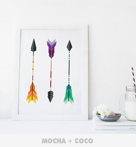 Geometric Indian Arrows Art Poster, Geometric Wall Art, Startup Minimal Decoration, Printable Mocha + Coco, Intstant PRINT FILE DOWNLOAD