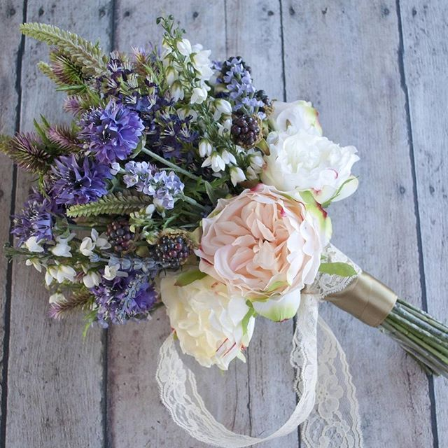 Lace and lavender and peonies oh my! Gorgeous bouquet made by Kate Said Yes Weddings with faux flowers from Afloral.com! #afloral