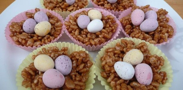 Chocolate Rice Krispie Cakes.  These are great for Easter Treats!