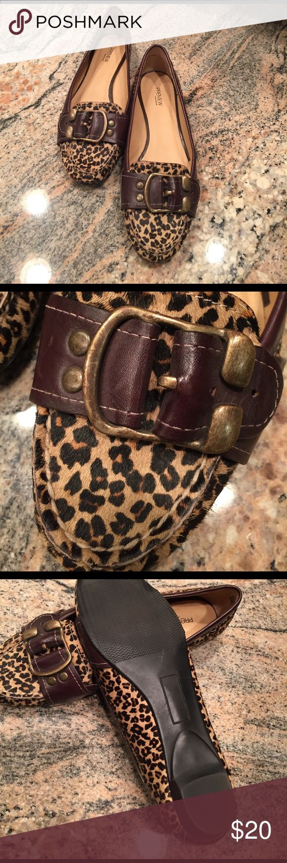 Preview Leopard hair on hide leather upper Leopard hair on hide leather upper. Worn once. Size 6.5 Preview Shoes Flats & Loafers