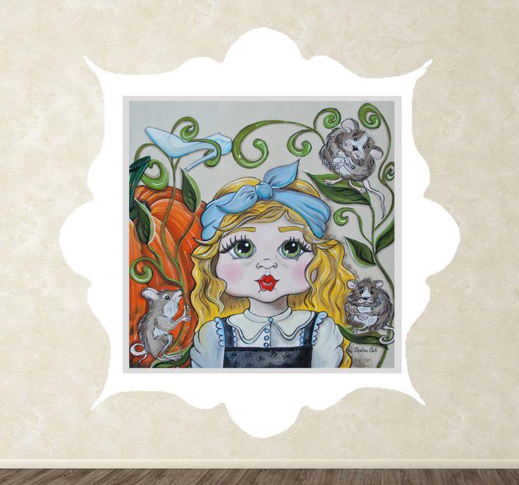 Muursticker kinderen Assepoester  Muursticker met hierop een geschilderde versie van Assepoester met haar behulpzame muizen en pompoen en natuurlijk haar glazen muiltje. Assepoester heeft haar schortje blauw strikje blonde haar en roze wangetjes hierdoor ziet ze er natuurlijk super schattiguit. Een mooie wanddecoratie voor alle sprookjes liefhebbers is Assepoester ook jouw favorieten prinses? Dan is dit een mooie manier om de muren in jouw slaapkamer kinderkamer of woonkamer te decoreren.De…
