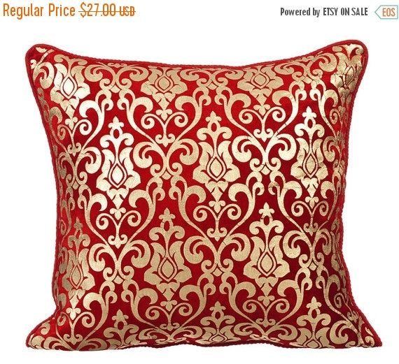 15% YEAR END SALE My Newest design - Red Festive - This gorgeous red velvet throw pillow cover with a gold print will definitely put you in a festive mood! Take a look.
