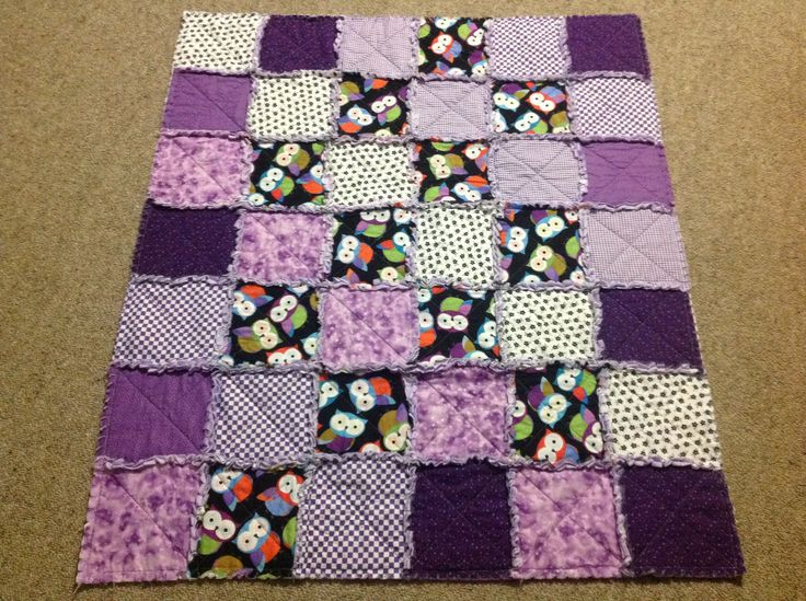 Purple owl rag quilt for an identical twin girl